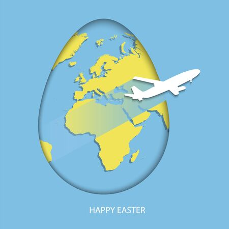 Easter egg with yellow world map. Planet Earth in form of egg on bright purple background with flying light gray air plane and greeting text Happy Easter. Vector illustration in paper-cut style.