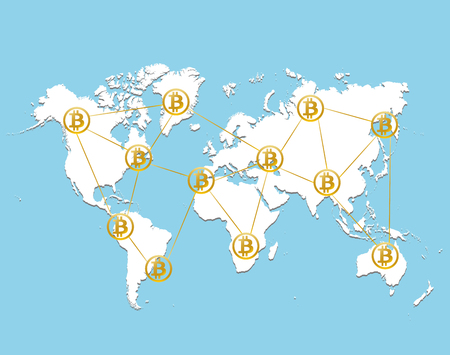 Golden bitcoin signs on World map on sky blue background. Bitcoin cryptocurrency digital payment system vector illustration for business, finance or technology design.