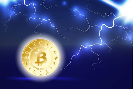 Golden bitcoin digital currency. One coin on dark blue background with lightning or storm. Bitcoin mining. Cryptocurrency technology and digital money. 3D vector illustration.