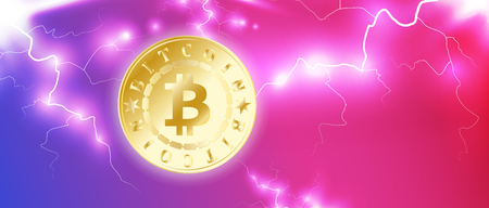 Golden bitcoin digital currency. One coin on blue red bright sky background with lightning or storm. Bitcoin mining. Cryptocurrency technology and digital money. 3D vector illustration. Illustration