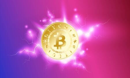 Golden shiny bitcoin digital currency. One coin on purple red bright sky background with lightning. Bitcoin mining. Cryptocurrency technology and digital money. 3D vector illustration Illustration