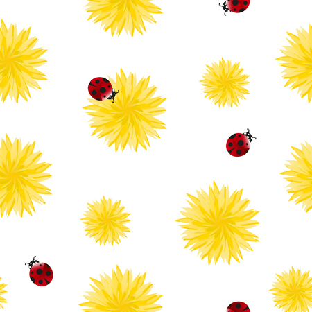 Dandelion yellow flowers and red ladybugs seamless pattern. Surface floral art design. Great for vintage fabric, wallpaper, gift wrap, scrap booking. Wildflowers on white background.