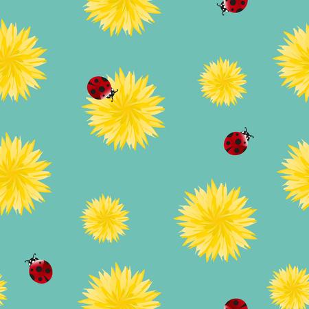 Löwenzahngelbe Blumen und Samen, die mit nahtlosem Muster der Marienkäfer fliegen. Oberflächenblumenkunstdesign. Ideal für Vintage-Stoffe, Tapeten, Geschenkverpackungen und Schrottbuchungen. Wildblumen auf blaugrünem Hintergrund.
