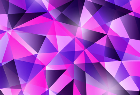 Colorful modern geometric abstract pattern. Trendy bright purple violet colors. Beautiful pink blue design background in low poly style