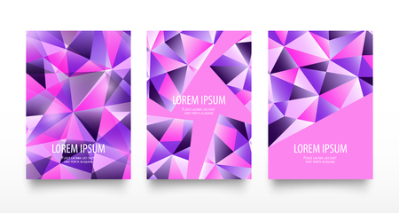 Colorful modern geometric abstract flyers or card set. Trendy bright purple violet colors with gradients. Beautiful pink blue design pattern background in low poly style on white.