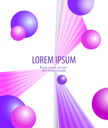 Colorful geometric abstract trendy bright purple violet colors background with flying balls and rays. Beautiful pink blue design. Modern triangle graphic art on white.