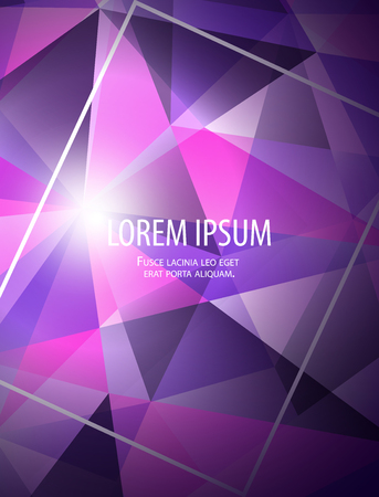 Modern abstract bussiness background with frame, gradients and light in polygonal style in trendy bright blue pink purple colors for cards, posters, flyers. Vector illustration eps 10.