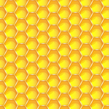 Bright yellow honeycomb seamless pattern background. Hexagonal prismatic wax cells built by honey bees in their nests vector eps 10 illustration.