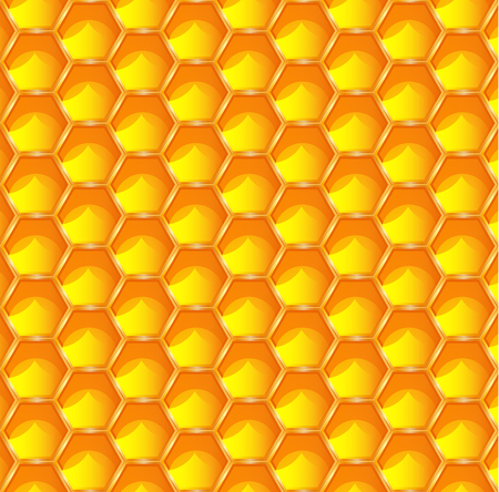 Bright orange honeycomb abstract pattern background. Hexagonal prismatic wax cells vector eps 10 illustration
