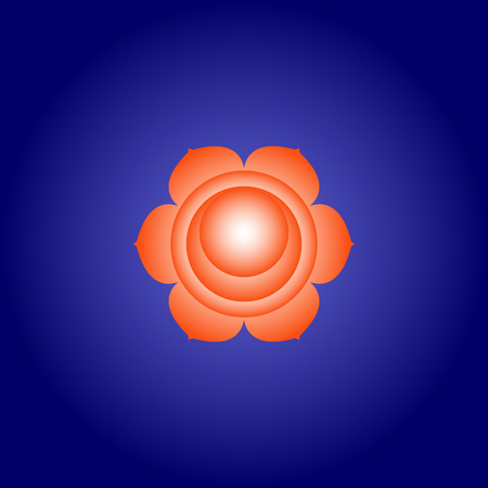 Sacral chakra Svadhisthana in Orange color on dark blue space background. Isoteric flat icon. Geometric pattern. Vector illustration eps10