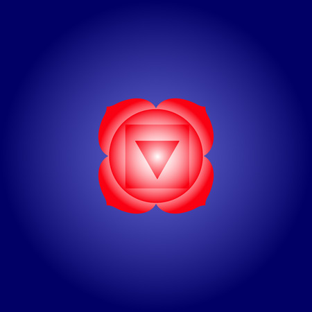 Root chakra Muladhara in red color on dark blue space background. Isoteric flat icon. Geometric pattern. Vector illustration eps10 Illustration