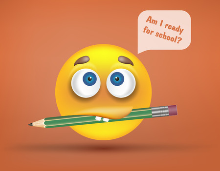 Am I ready for school text question in speech bubble and funny sad smiley with facial expression or emotion and big green pencil in its mouth or lips on bright orange background. Vector illustration.