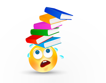 Funny round face carrying high stack of books or textbooks on head with facial expression or emotion on white background. The concept of hard study or work. Vector icon.