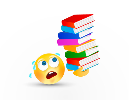 Funny round face carrying high stack of books or textbooks on head with facial expression or emotion on white background. The concept of hard stressful study or work. Vector icon.