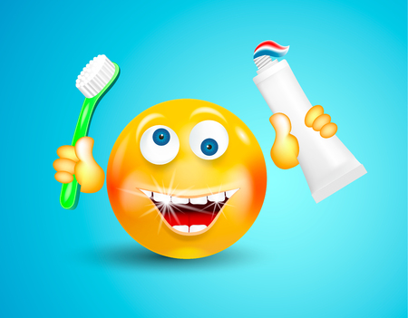 Happy smiling with white shining teeth emoticon or round face holding toothbrush and toothpaste in its hands on bright blue background. Cartoon character. Concept of healthy lifestyle and cleanliness Ilustração