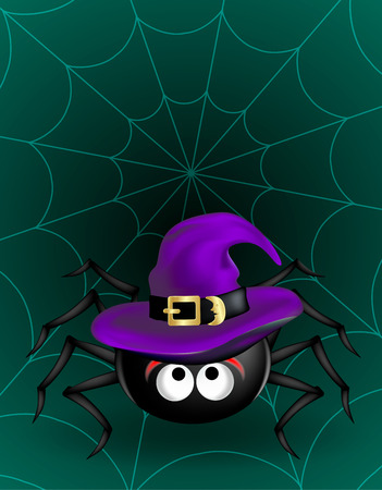 Big Black cute spider in violet witch hat hanging on cobweb on dark green background. Halloween scary funny object.