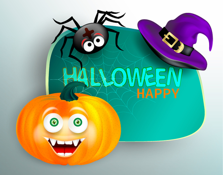 Cute spider on cobweb and orange pumpkin with happy monster face and purple witch hat on white background. Happy Halloween congratulation card.