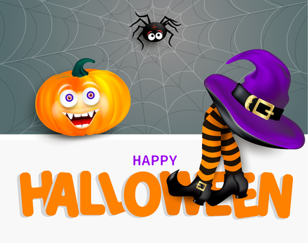 Cute spider on cobweb, orange pumpkin with happy monster face, purple witch hat and legs with striped stockings on white banner with text Happy Halloween on gray background.