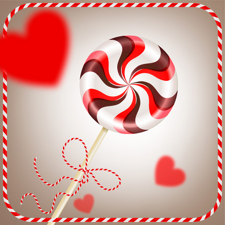 Bright round striped red brown lollipop with decorative cord. and blurred hearts in frame. Berry and chocolate candy on a stick. Realistic 3D Vector illustration on light background 矢量图像