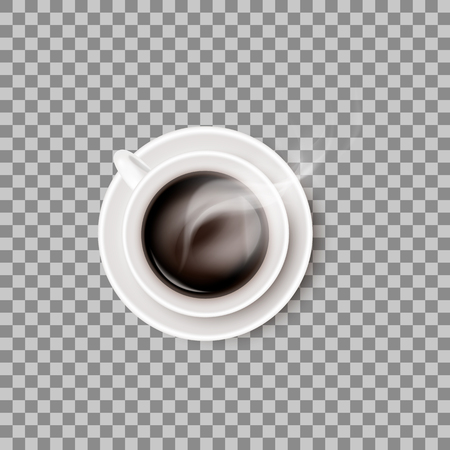 A hot steaming coffee beverage in white ceramic cup or mug on round saucer. Vector realistic object isolated on transparent background. Vectores
