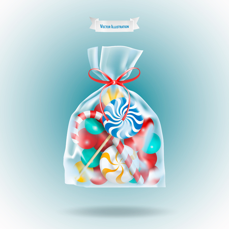 Traditional sweets candies lollipop and Candy Cane packed in a transparent sachet package with a red ribbon on blue background. Christmas or birthday gift. Realistic vector illustration. Ilustracje wektorowe