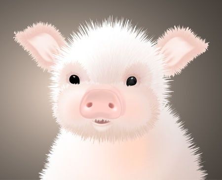Portrait of a Little Furry Pink Cute Piglet. Vector illustration.