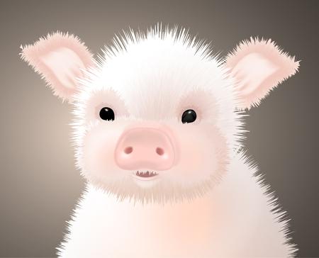 Portrait of a Little Furry Pink Cute Piglet. Vector illustration.