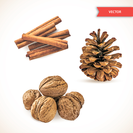 Heap or pile of dry cinnamon bark or chopsticks, walnuts and pine cone isolated on white background. Set of Decor Objects for New Year or Christmas. Realistic Vector Illustration Vetores