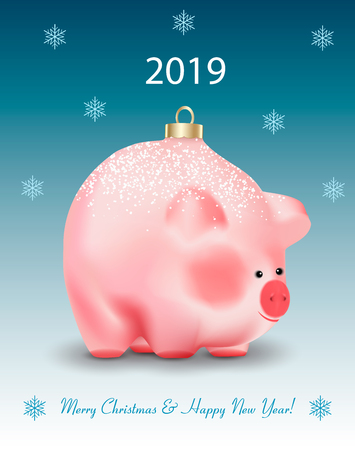 Winter holiday card with greetings. Christmas Bauble ot toy a cute pig a chinese new year symbol on blue background with showflakes and snow. Realistic vector illustration