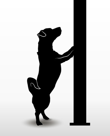 Silhouette of a playing dog jack russell terrier standing on its hind paws and looking upwards. Vector illustration