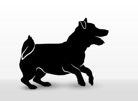 Silhouette of a playing pet dog jack russell terrier jumping and barking. Walking or running pet. Vector illustration