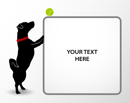 Banner with Silhouette of cute small dog jack russell terrier playing with tennis ball. Playful active pet. Puppy looking on green tennis ball. Vector illustration Illustration