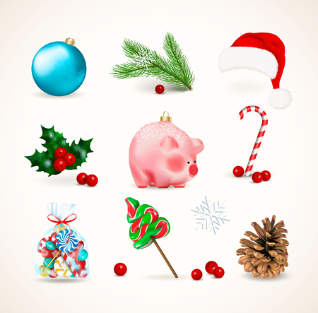 Winter holiday decor. Set of Christmas Bauble, cute pig a chinese new year symbol, pine branch and cone, mistletoe or holly with red berries, candies lollipop and cane. Realistic vector illustration