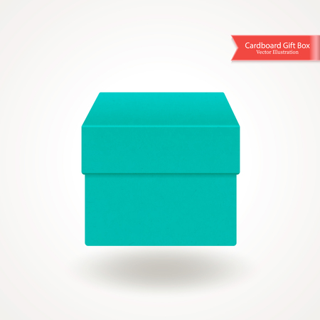 Single cardboard box. Top and front view. Package isolated on white background. Realistic Vector Illustration.