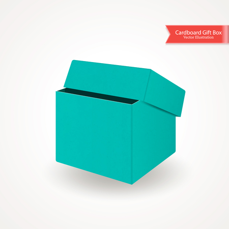 Single half open cardboard green blue box. Top and front view. Package isolated on white background. Realistic Vector Illustration.