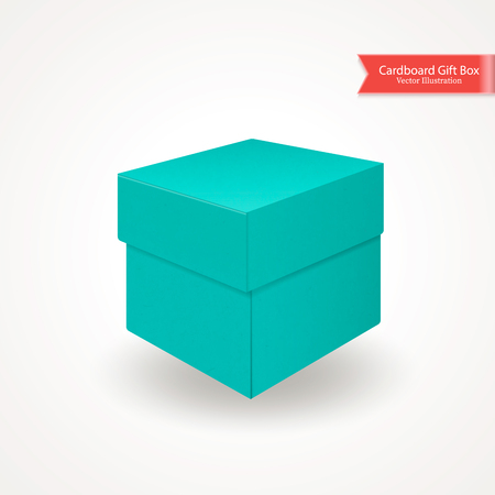 Single cardboard green blue gift box. Top and front view. Package isolated on white background. Realistic Vector Illustration. Иллюстрация