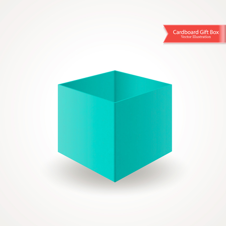 Single open cardboard green blue box with without lid or cover. Front view. Package isolated on white background. Realistic Vector Illustration. Иллюстрация
