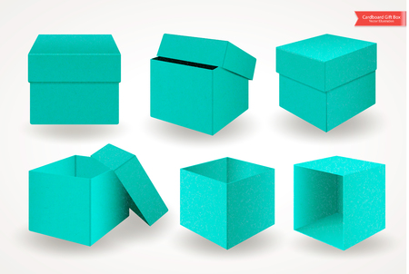 Set of open and closed cardboard green blue boxes with lids or covers. Front view. Package isolated on white background. Realistic Vector Illustration.
