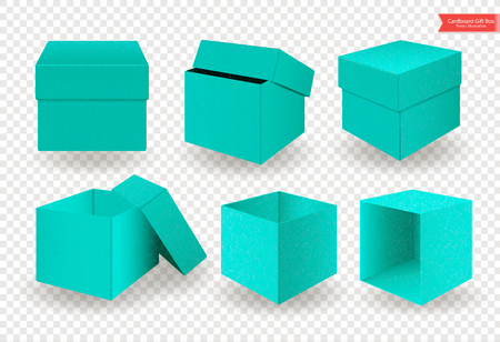 Set of open and closed cardboard green blue boxes with lids or covers. Front and top view. Package isolated on transparent background. Realistic Vector Illustration.