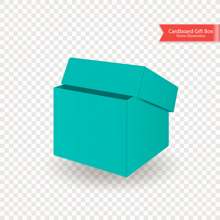 Single half open cardboard green blue box. Front view. Package isolated on transparent background. Realistic Vector Illustration.