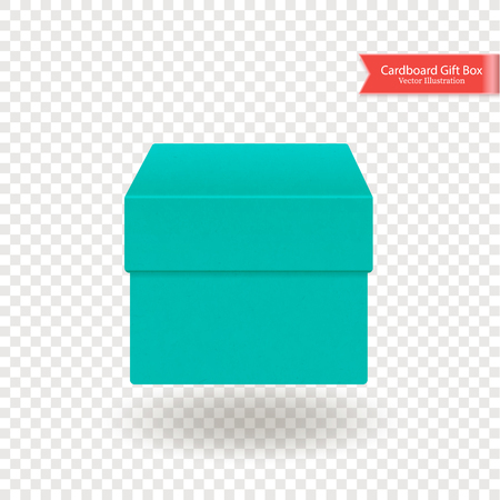 Single cardboard box. Top and front view. Package isolated on transparent background. Realistic Vector Illustration. Иллюстрация