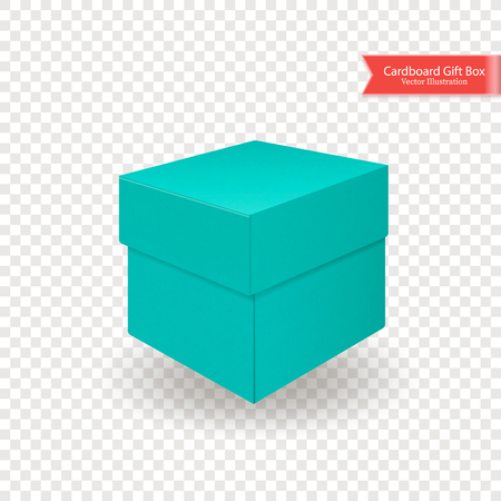 Single cardboard green blue gift box. Top and front view. Package isolated on transparent background. Realistic Vector Illustration.