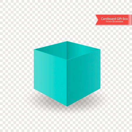 Single open cardboard green blue box with without lid or cover. Front view. Package isolated on transparent background. Realistic Vector Illustration. Иллюстрация