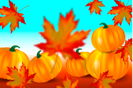 Bright orange pumpkins and falling red maple leaves on a blue autumn background. Seasonal banner with copy space for your text. Vector illustration. Иллюстрация