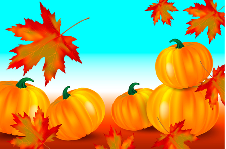 Bright orange pumpkins and falling red maple leaves on a blue autumn background. Seasonal banner with copy space for your text. Vector illustration card. Иллюстрация