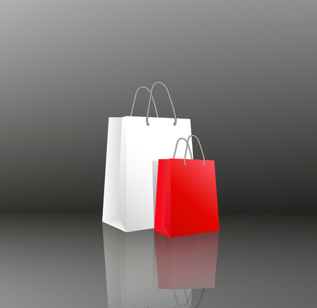 Vector 3D icon two empty realistic white and red paper packages or bags for shopping or gifts. Objects on black or gray background with mirror reflection. Иллюстрация