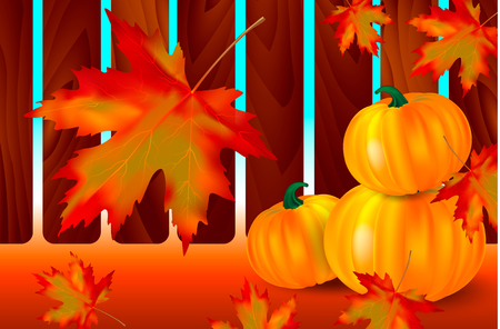 Bright orange pumpkins and falling red maple leaves on a autumn background with wooden fence. Seasonal banner or holiday vintage card. Vector illustration. Иллюстрация