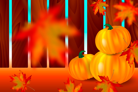 Bright orange pumpkins and falling red maple leaves with blur on autumn background with wooden fence. Seasonal banner or holiday vintage card. Realistic Vector illustration. Иллюстрация