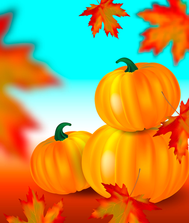 Bright orange pumpkins and blurred falling red maple leaves on autumn garden background with blue sky. Seasonal banner or holiday vintage card. Realistic Vector illustration.