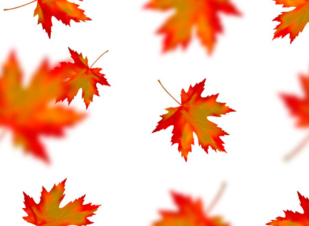 Seamless pattern with bright orange yellow red blurred falling maple leaves isolated on white background. Seasonal banner, cover, wallpaper or autumn holiday vintage decoration. Vector illustration. Иллюстрация